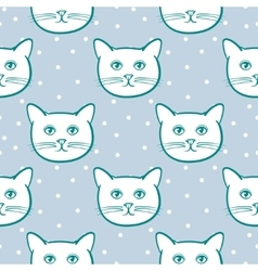 Seamless pattern with cute cats animal and snow vector image vector image
