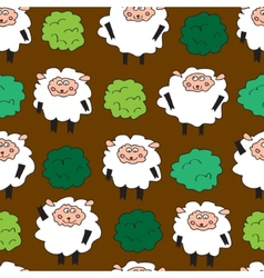 Sheep and shrubs Seamless pattern vector image