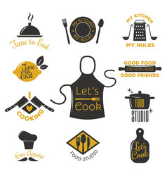 bakery shop badges and cooking labels design vector image vector image