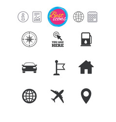 navigation gps icons windrose compass signs vector image