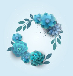 paper beech with blue flowers vector image vector image