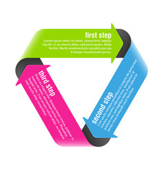 three steps process arrows design element vector image