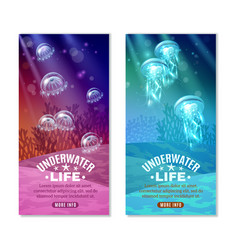 underwater colorful banners set vector image vector image