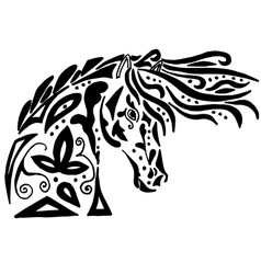 Black horse coloring or tattoo vector image