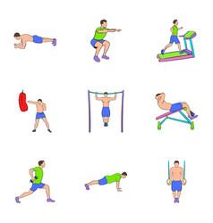 bodybuilding icons set cartoon style vector image