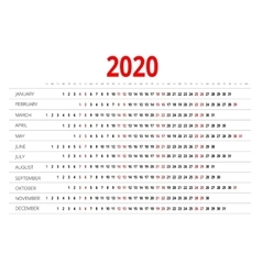 Calendar for 2020 vector image vector image