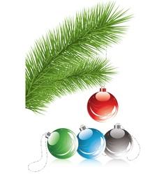 fur tree branch and xmas decoration vector image vector image