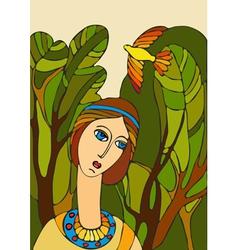 Girl Face Bird vector image vector image
