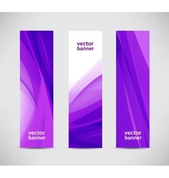 set of abstract wavy purple banners vector image vector image