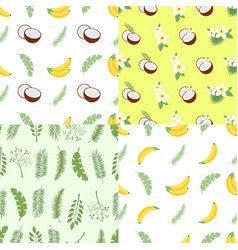 set of seamless summer patterns backgrounds with vector image vector image