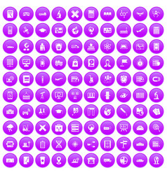 100 globe icons set purple vector