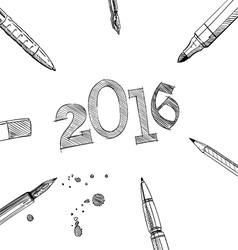 2016 New Year frame pens vector image