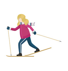 A girl in winter clothes on cross-country skiing vector