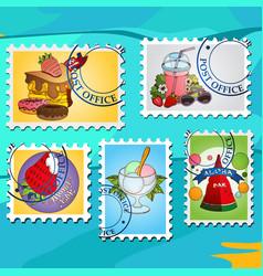 A set of for design summer bar postage stamps vector