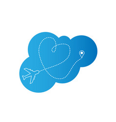 airplane and heart path trail icon vector image