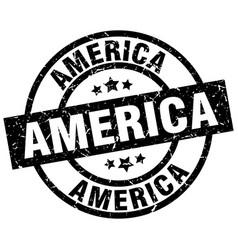 America black round grunge stamp vector