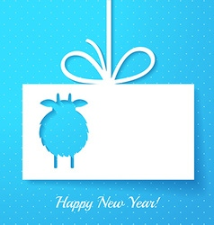 Applique with cut out goat New Year greeting card vector