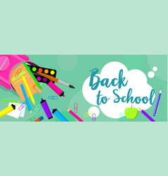 back to school pens banner horizontal flat style vector image