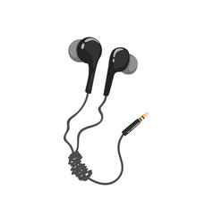 Black corded earphones music technology accessory vector