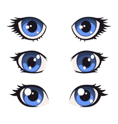 Blue Cartoon Anime Eyes Set vector