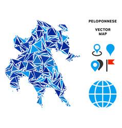 Blue triangle peloponnese peninsula map vector