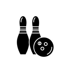 bowling black icon sign on isolated vector image