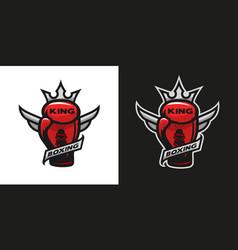 Boxing king glove logo vector