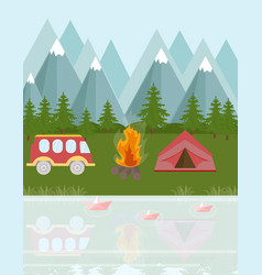 Camping bus and tent in the mountains vector