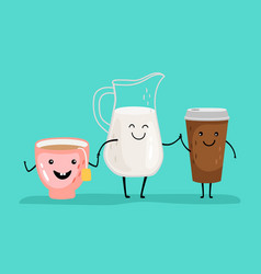 cartoon drinks characters vector image