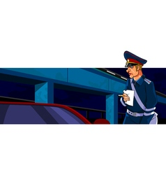 cartoon male police officer with a receipt and pen vector image vector image