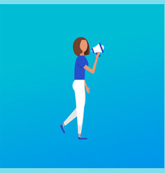 Casual hand holding bullhorn concept of news vector