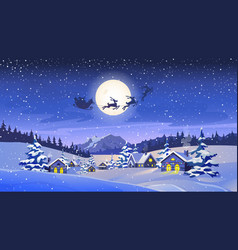 christmas eve scenery reindeers flying in sky vector image