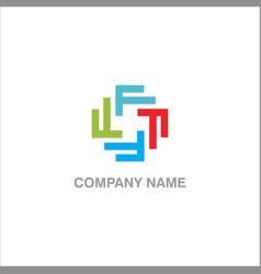 circle colored f design logo vector image