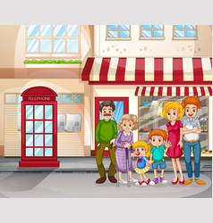 City scene with happy family standing in front vector