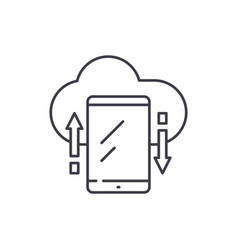 cloud storage line icon concept cloud storage vector image