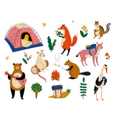 Collection humanized animals characters having vector
