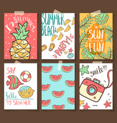 collection of summer cards grettings and vector image