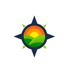 Compass farm logo icon design vector