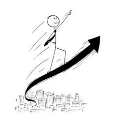 conceptual cartoon of businessman ride on arrow vector image