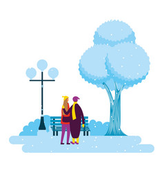 couple in the park winter scenery vector image