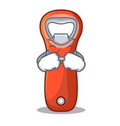Crying plastic bottle opener isolated on cartoon vector