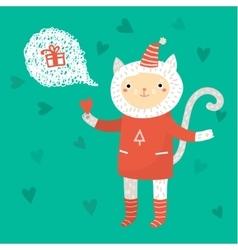 Cute cat Greeting card vector image