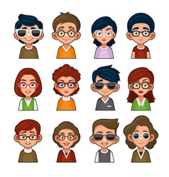 Cute girl and boy with glasses avatar young vector