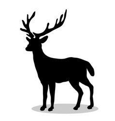 Deer woodland black silhouette animal vector