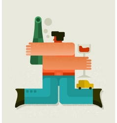 Drunk man with the bottle vector image