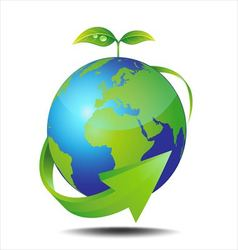 Earth and green plant vector image
