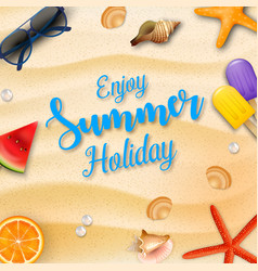 enjoy summer holidays background and beach element vector image