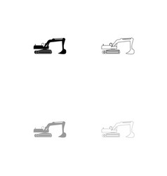 excavator black and grey set icon vector image