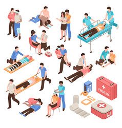 First aid isometric set vector