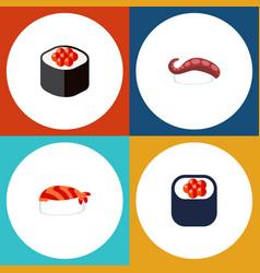 flat icon maki set of eating japanese food vector image